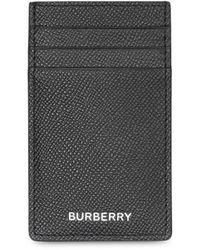 Burberry Porte-cartes à logo en cuir grainé - Noir