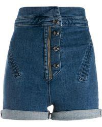 RTA Super High-waisted Denim Shorts - Blue