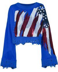 Amen | Distressed Beaded Cropped Sweatshirt | Lyst