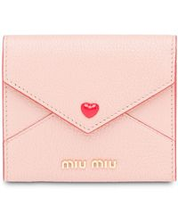 Miu Miu Madras Love Envelope Card Holder - Pink