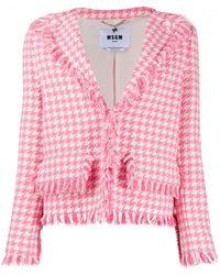 MSGM ハウンドトゥース ジャケット - ピンク