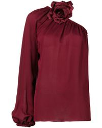 Elie Saab One Shoulder Blouse - Red