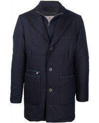 Canali キルティング シングルコート - ブルー
