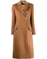 Versace Фактурное Пальто С Брошью - Коричневый