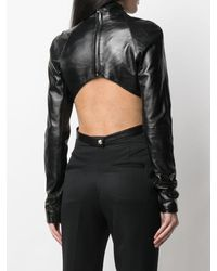 Manokhi Jules Cut-out Leather Top - Black