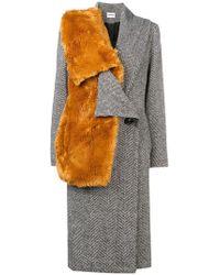 Au Jour Le Jour - Faux Fur Detail Coat - Lyst
