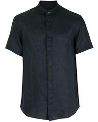 Armani Exchange リネン ショートスリーブシャツ - ブルー
