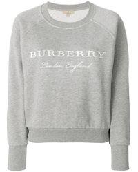 Burberry - Embroidered Logo Sweatshirt - Lyst
