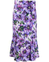 Dolce & Gabbana Юбка С Завышенной Талией И Цветочным Принтом - Пурпурный