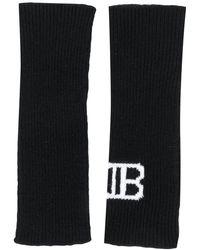 Balmain Перчатки Без Пальцев С Монограммой - Черный