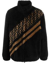 Fendi Куртка С Искусственным Мехом И Узором Ff - Черный