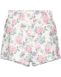 LoveShackFancy Pantalones cortos Renato con motivo floral - Blanco