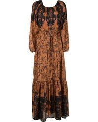 Mes Demoiselles Платье Макси Mexico С Цветочным Принтом - Коричневый