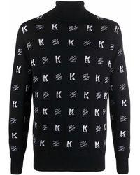 Karl Lagerfeld Aop Wool Turtleneck Jumper - Black