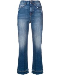 7 For All Mankind Beaded Hem Cropped Jeans - Синий