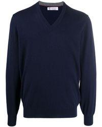 Brunello Cucinelli Jersey con cuello en V - Azul