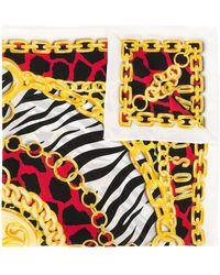 Moschino Pañuelo con motivo de cadenas y animal print - Amarillo