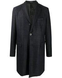 Emporio Armani チェック シングルコート - ブルー