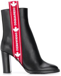 DSquared² Logo Band Ankle Boots - Black