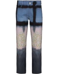 Collina Strada Tie Dye Cropped Jeans - Blue