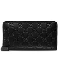 Gucci Signature Zip Around Portemonnee - Zwart