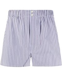 Brioni Striped Print Boxers - Blue