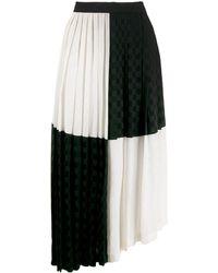 MSGM - Jupe mi-longue bicolore à design plissé - Lyst