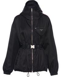 Prada ロゴバックル ジャケット - ブラック