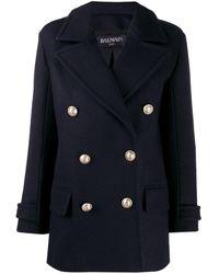 Balmain Manteau à boutonnière croisée - Bleu