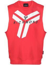 John Richmond Logo Print Vest - Red
