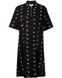 YMC Harvest フローラル シャツドレス - ブラック