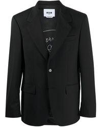 MSGM シングルジャケット - ブラック