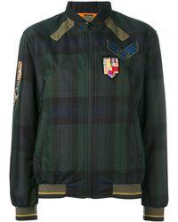 Mr & Mrs Italy Plaid print bomber jacket - Blu