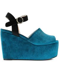 Tu Es Mon Tresor Velour Platform Sandals - Blue