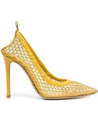 Gianvito Rossi Alisia Mesh Stiletto Court Shoes - Yellow