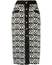 Pinko Falda midi de tweed con monograma - Negro