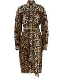 Burberry Платье-рубашка С Анималистичным Принтом - Коричневый