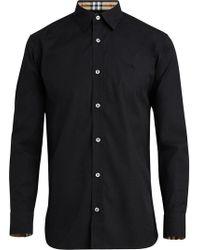Burberry - Camisa de popelina con cuello y puños a cuadros - Lyst
