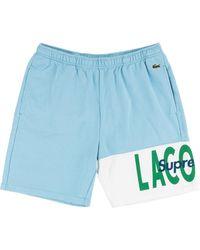 Supreme X Lacoste Logo Panel Sweat Shorts - Black