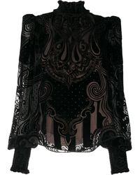 Balmain セミシアー ペイズリーシャツ - ブラック