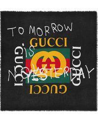 Gucci Coco Capitán Logo Modal Silk Shawl - Black