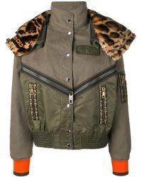Dolce & Gabbana Куртка-бомбер С Леопардовым Воротником - Зеленый