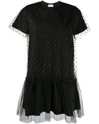RED Valentino Tulle Panel T-shirt Dress - Black