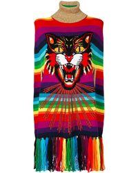 Gucci Angry Cat Intarsia Striped Cape - Multicolor