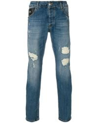 John Richmond - Distressed Fitted Jeans - Lyst