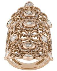 Loree Rodkin 18kt Rose Gold And Diamond Long Finger Ring - Metallic