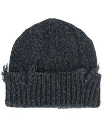 Maison Margiela Distressed Knit Beanie - Gray