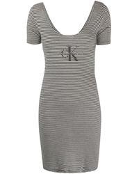 Calvin Klein - ストライプ ロゴ ドレス - Lyst