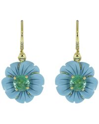 Irene Neuwirth 18kt Yellow Gold One-of-a-kind Tropical Flower Earrings - Blue