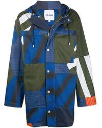 Koche カラーブロック パーカーコート - ブルー